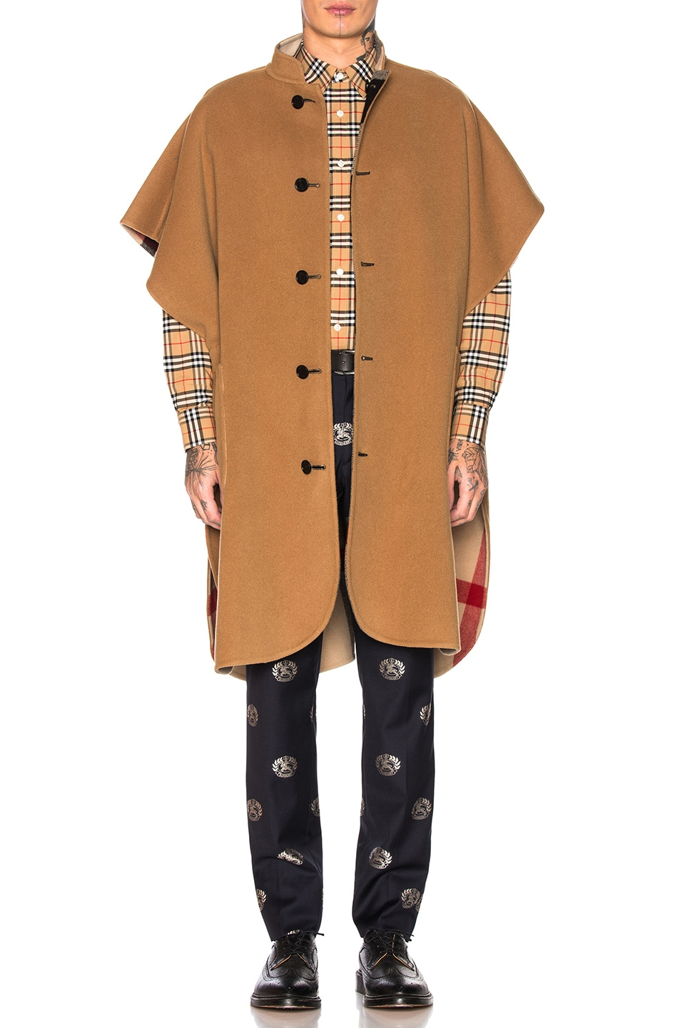 Image 1 of Burberry Checkered Cape in Camel