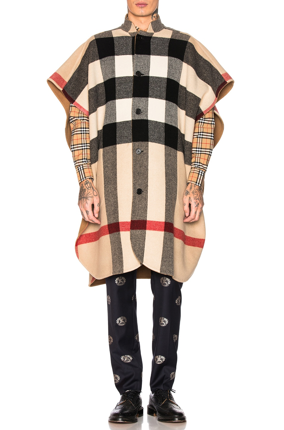 Image 2 of Burberry Checkered Cape in Camel