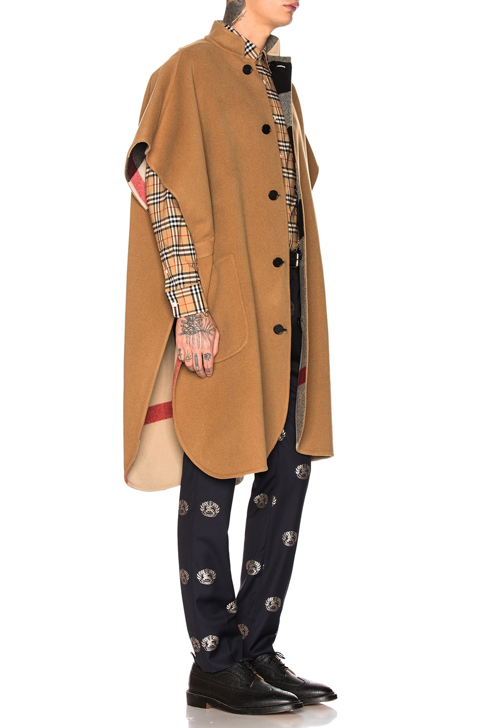 Image 3 of Burberry Checkered Cape in Camel