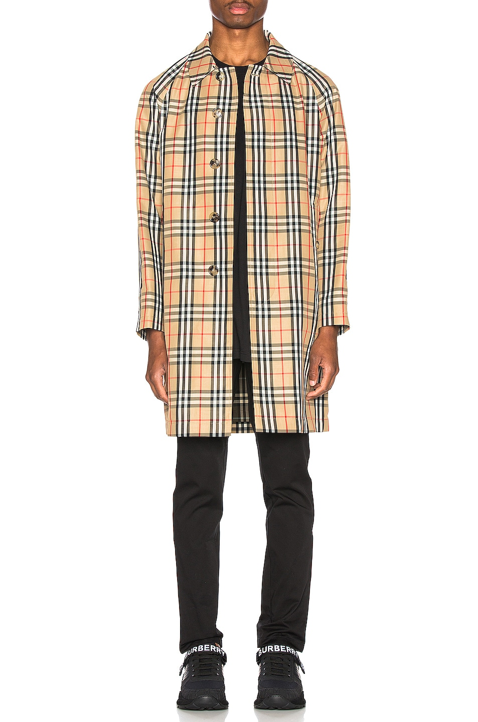 Image 1 of Burberry Check Nylon Carcoat in Archive Beige