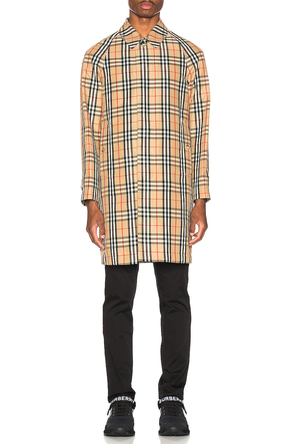 Image 2 of Burberry Check Nylon Carcoat in Archive Beige