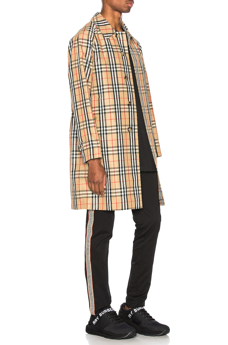 Image 3 of Burberry Check Nylon Carcoat in Archive Beige