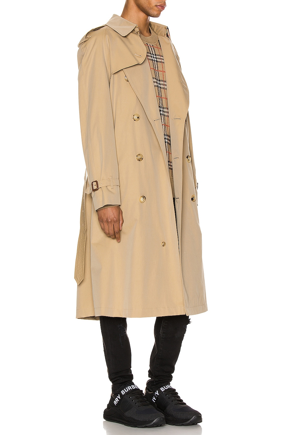 Image 3 of Burberry Heritage Refresh Raglan Trench Coat in Honey