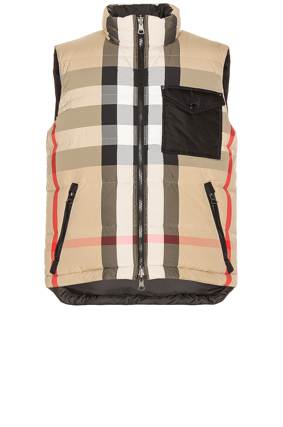 Image 1 of Burberry Reversible Check Down Gilet in Archive Beige & Black
