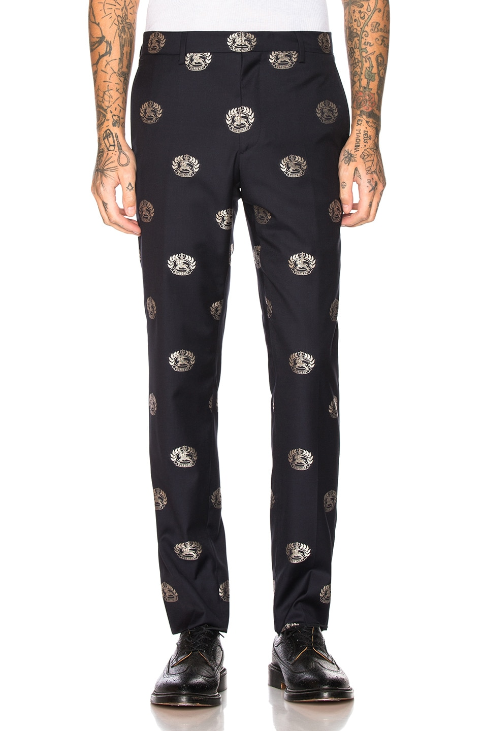 Image 1 of Burberry Crest Trousers in Midnight Blue