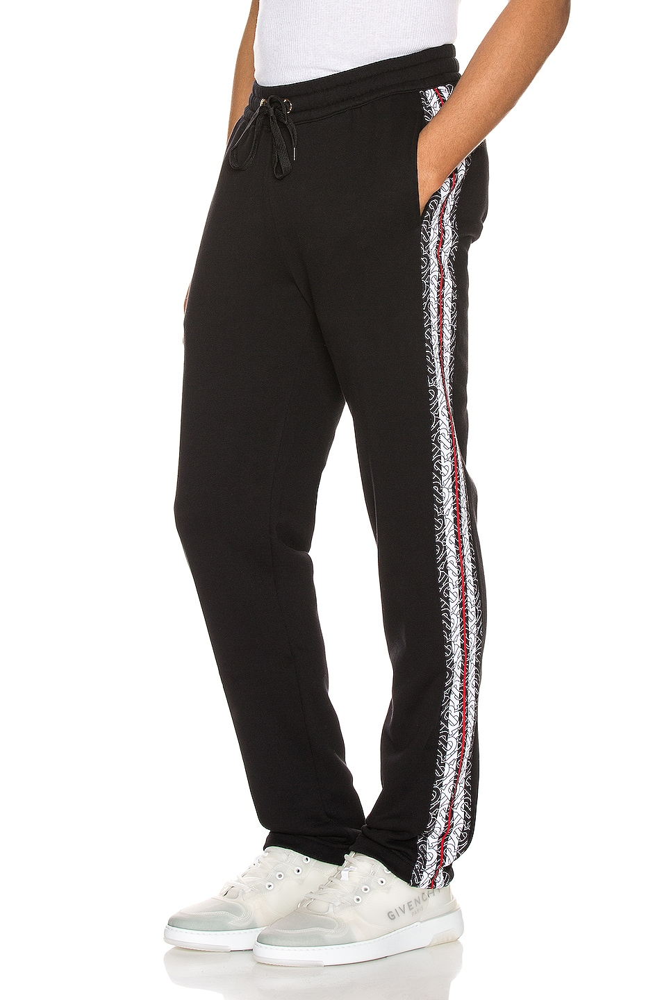 Image 1 of Burberry Arnold Monogram Stripe Sweatpant in Black