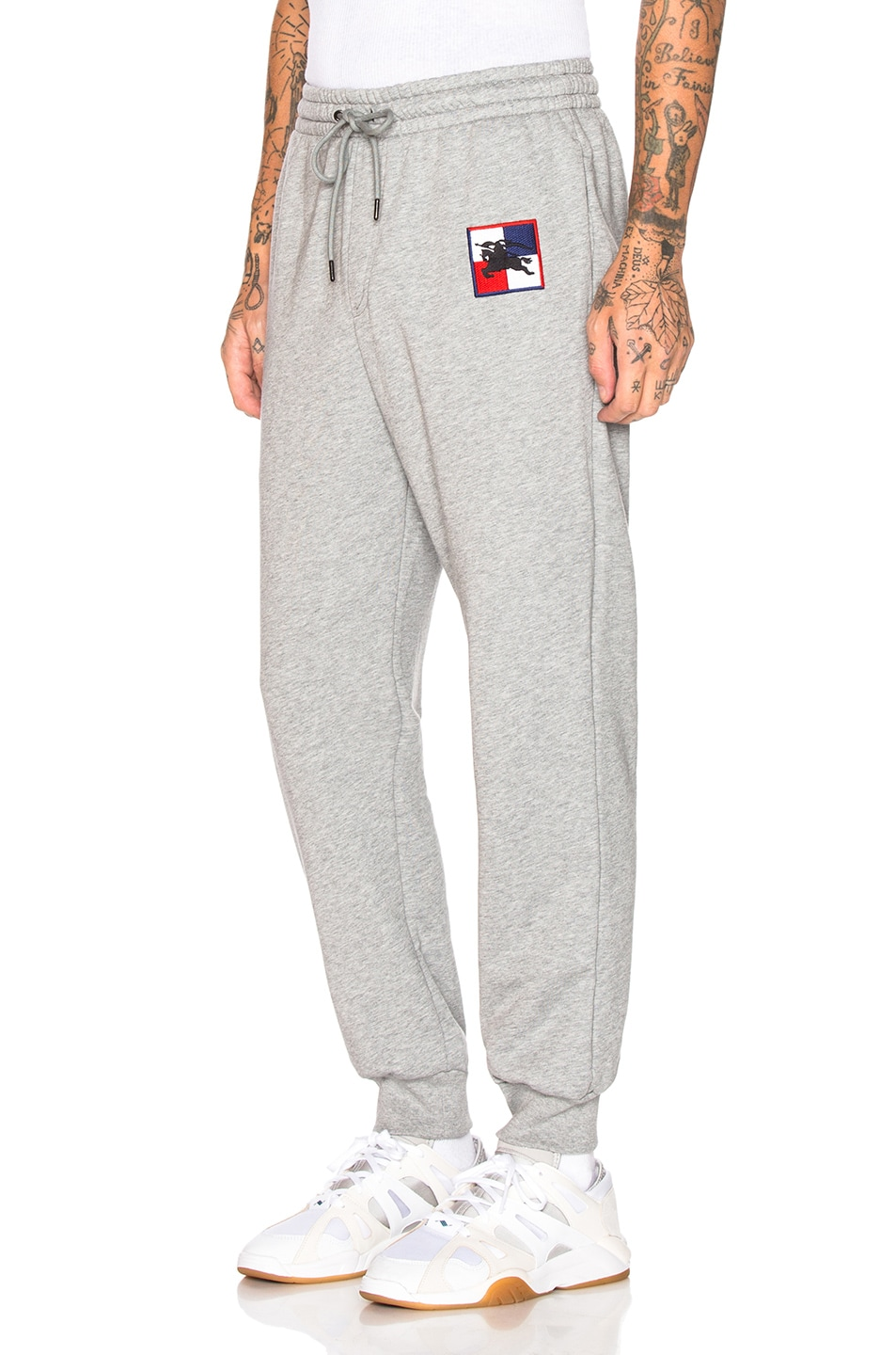 Image 1 of Burberry Munley Logo Sweatpants in Pale Grey