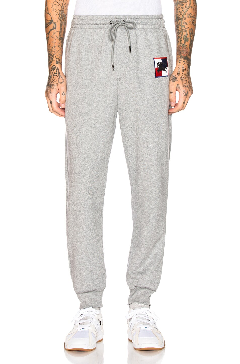 Image 2 of Burberry Munley Logo Sweatpants in Pale Grey