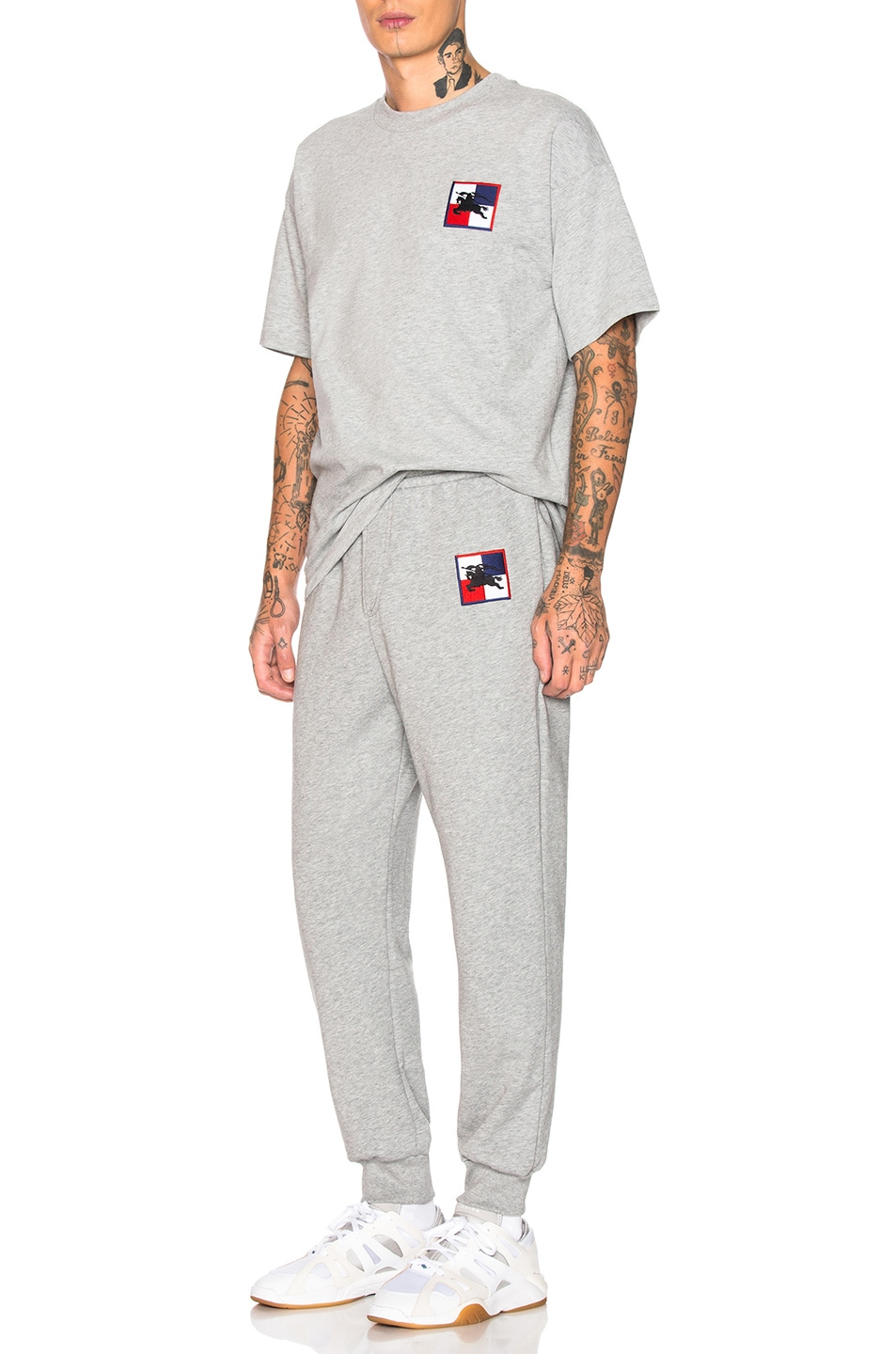 Image 5 of Burberry Munley Logo Sweatpants in Pale Grey