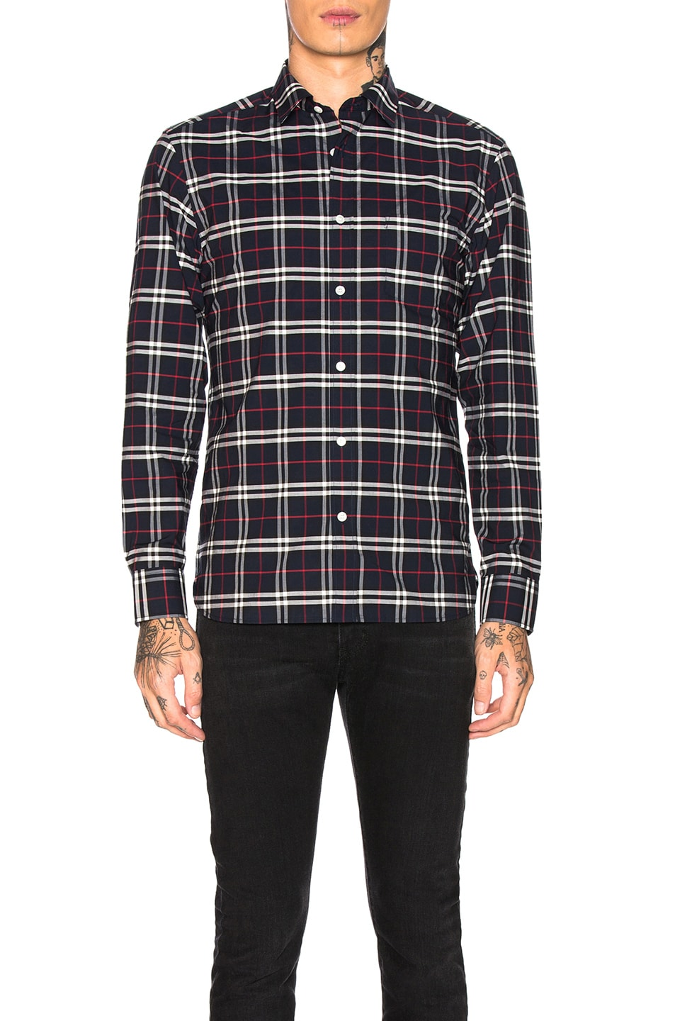 Image 1 of Burberry George Small Scale Checkered Flannel in Navy