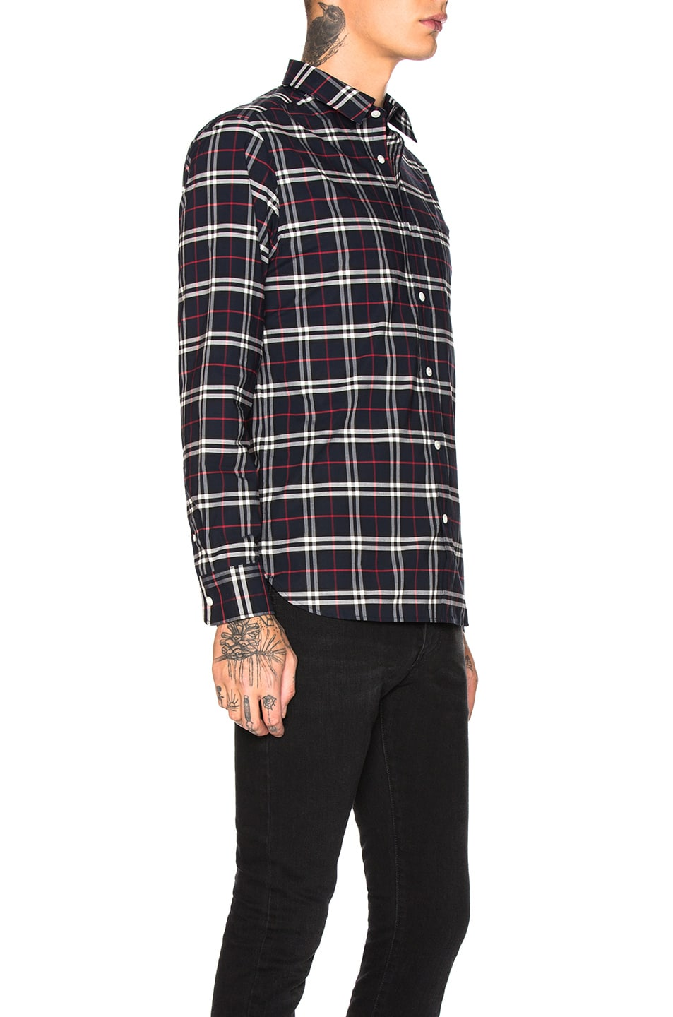 Image 2 of Burberry George Small Scale Checkered Flannel in Navy