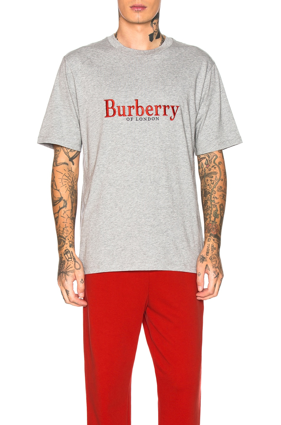 Image 1 of Burberry Lopori Logo Tee in Pale Grey