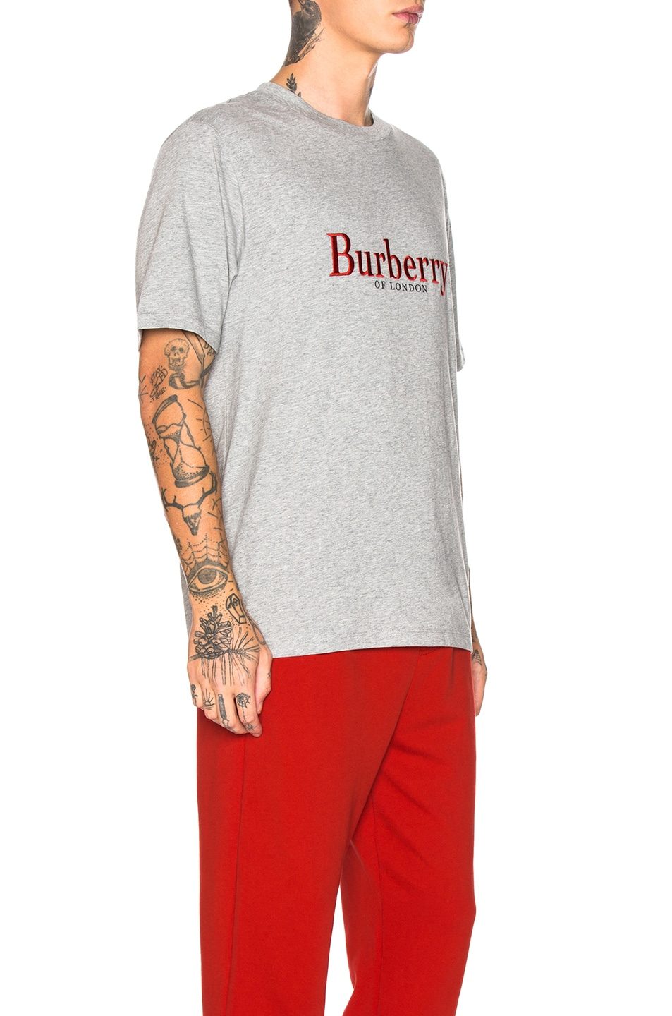 Image 2 of Burberry Lopori Logo Tee in Pale Grey