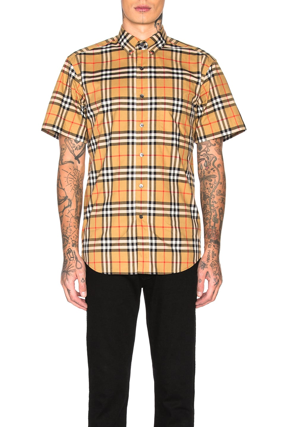 Image 1 of Burberry Jameson Tapered Shirt in Yellow Check