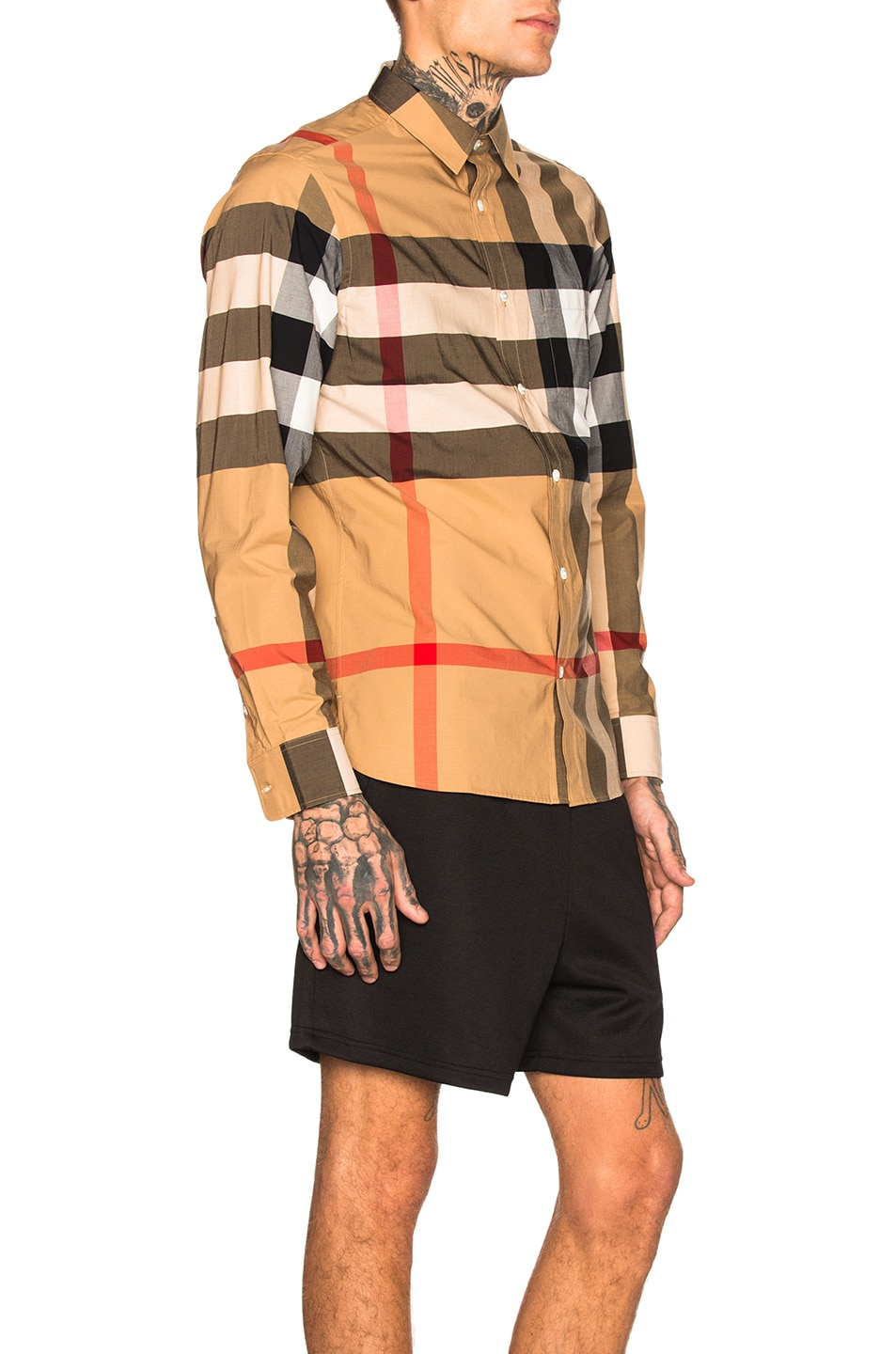 Image 2 of Burberry Giant Exploded Stretch Shirt in Camel Check