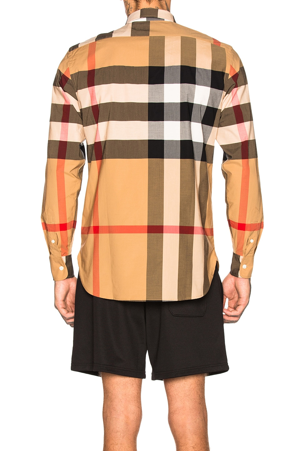 Image 3 of Burberry Giant Exploded Stretch Shirt in Camel Check