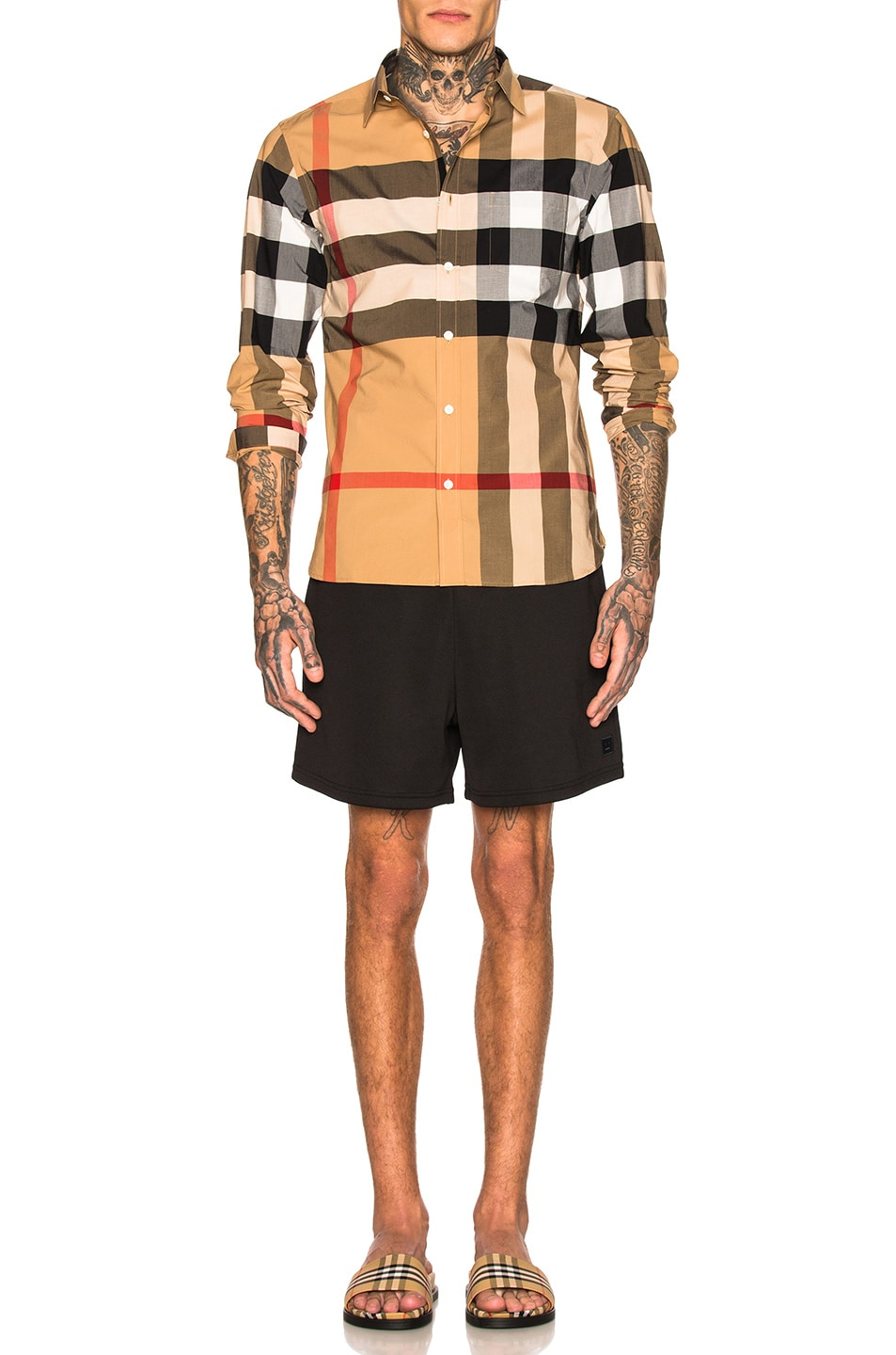 Image 4 of Burberry Giant Exploded Stretch Shirt in Camel Check