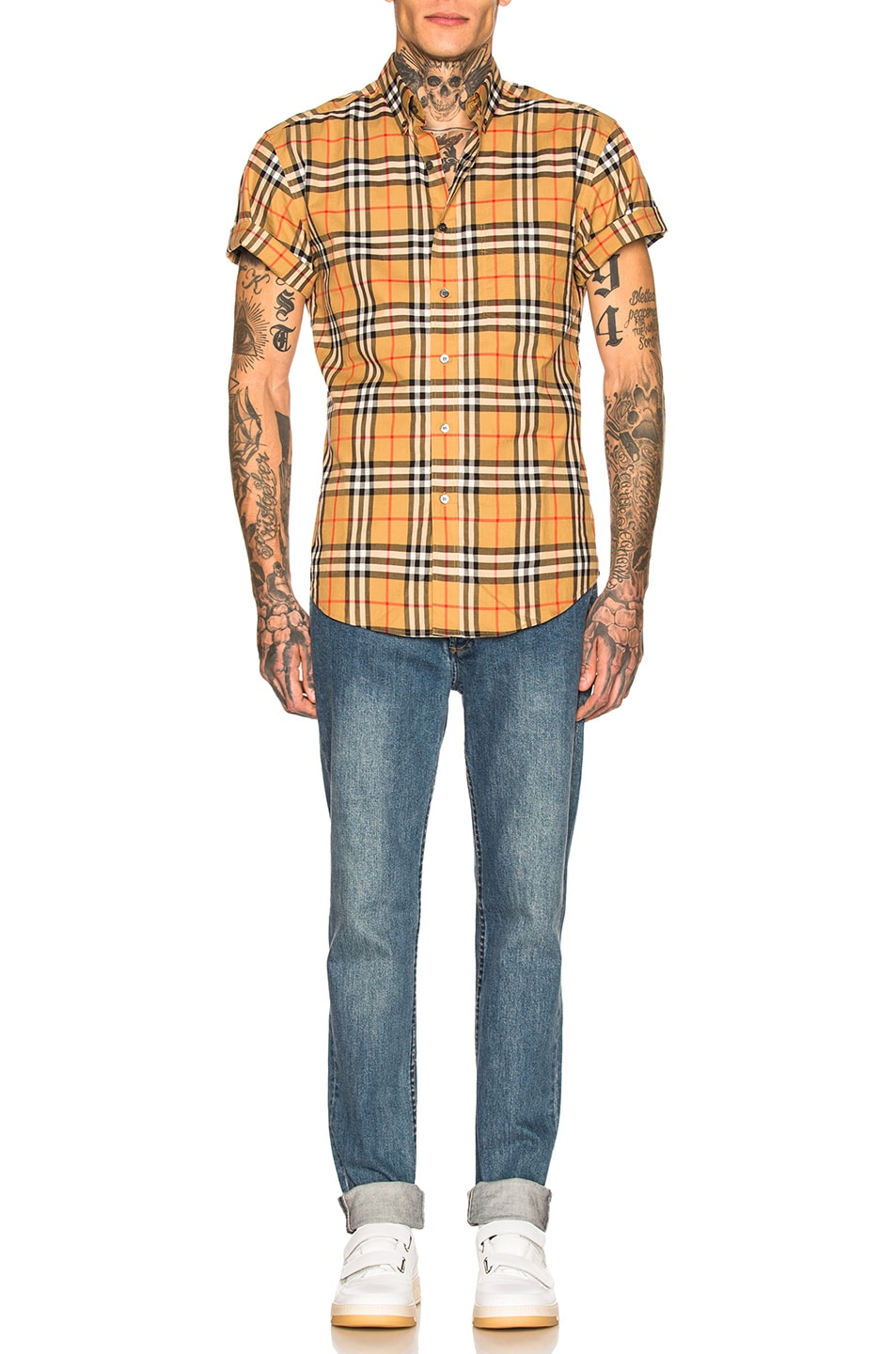 Image 4 of Burberry Vintage Check Shirt in Antique Yellow Check