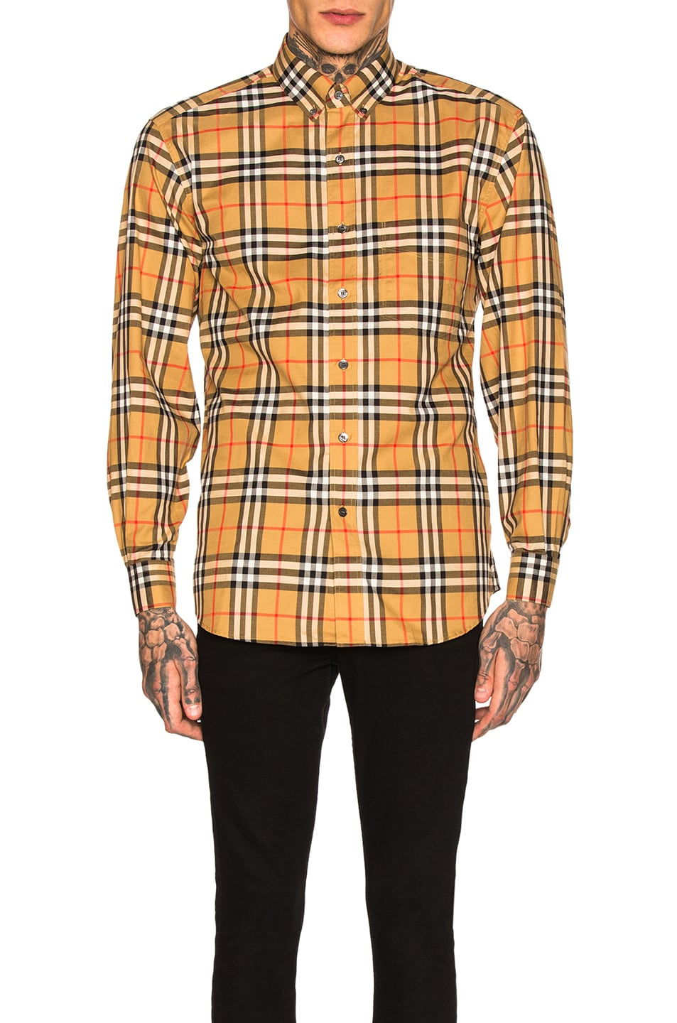 Image 1 of Burberry Long Sleeve Vintage Check Shirt in Antique Yellow Check