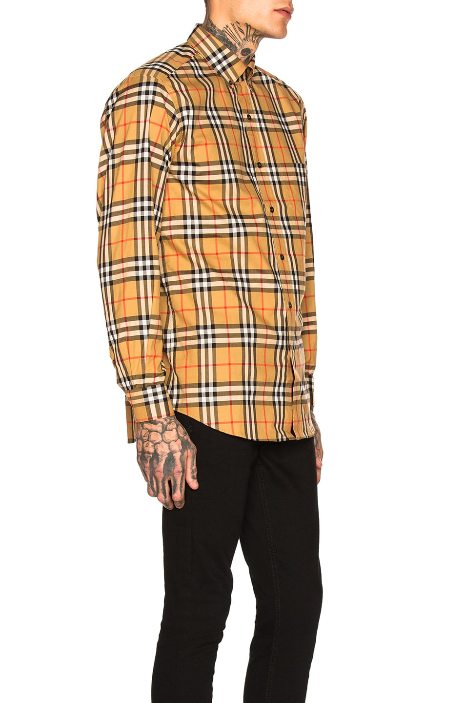 Image 2 of Burberry Long Sleeve Vintage Check Shirt in Antique Yellow Check