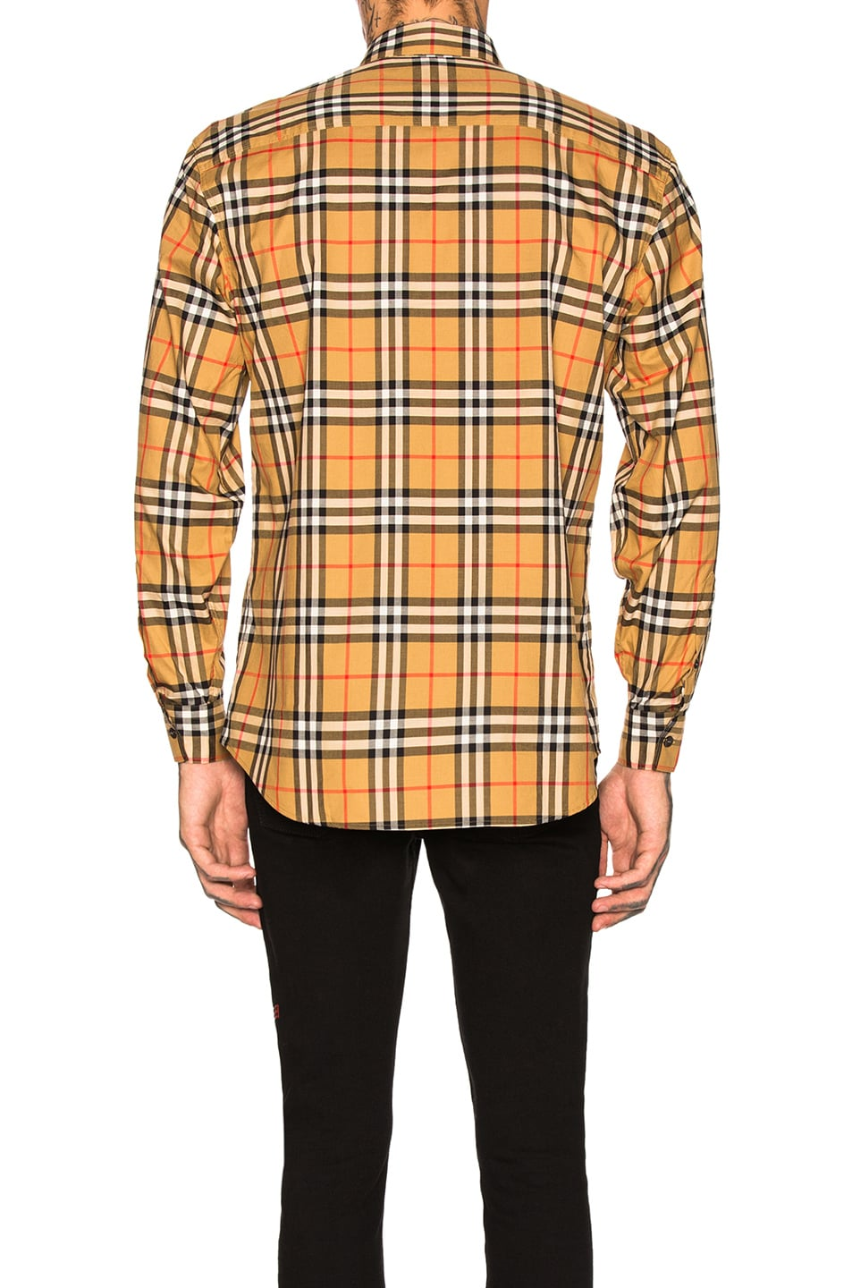 Image 3 of Burberry Long Sleeve Vintage Check Shirt in Antique Yellow Check