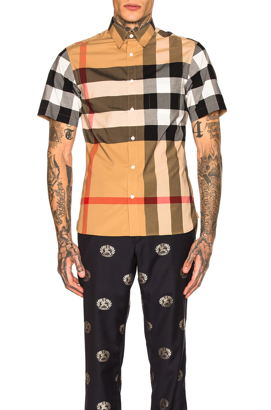 Image 1 of Burberry Giant Exploded Stretch Shirt in Camel Check