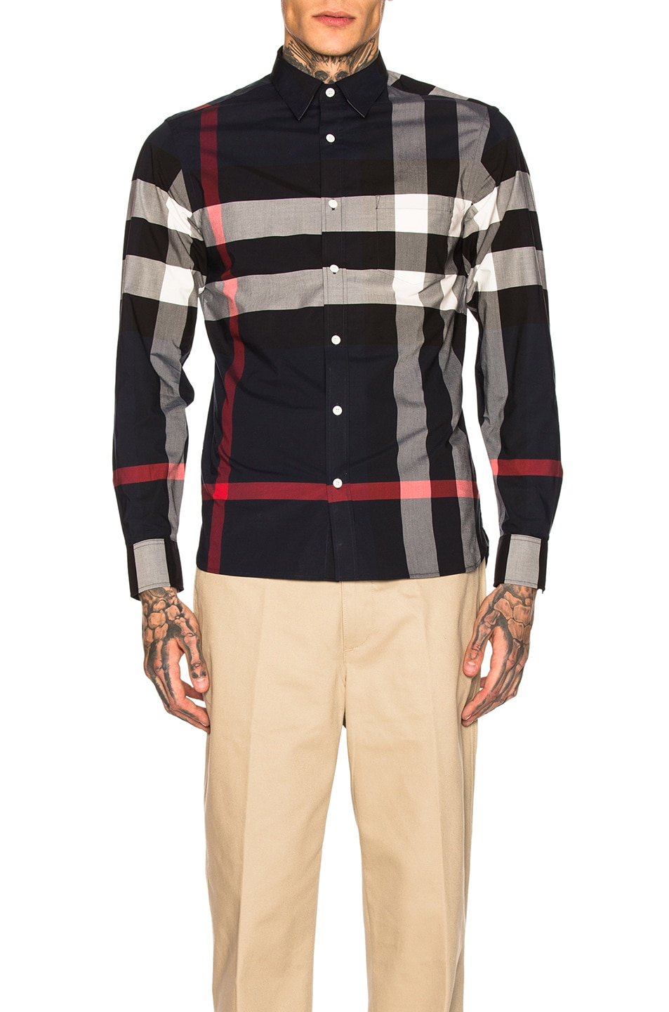 Image 1 of Burberry Giant Exploded Stretch Shirt in Navy Check