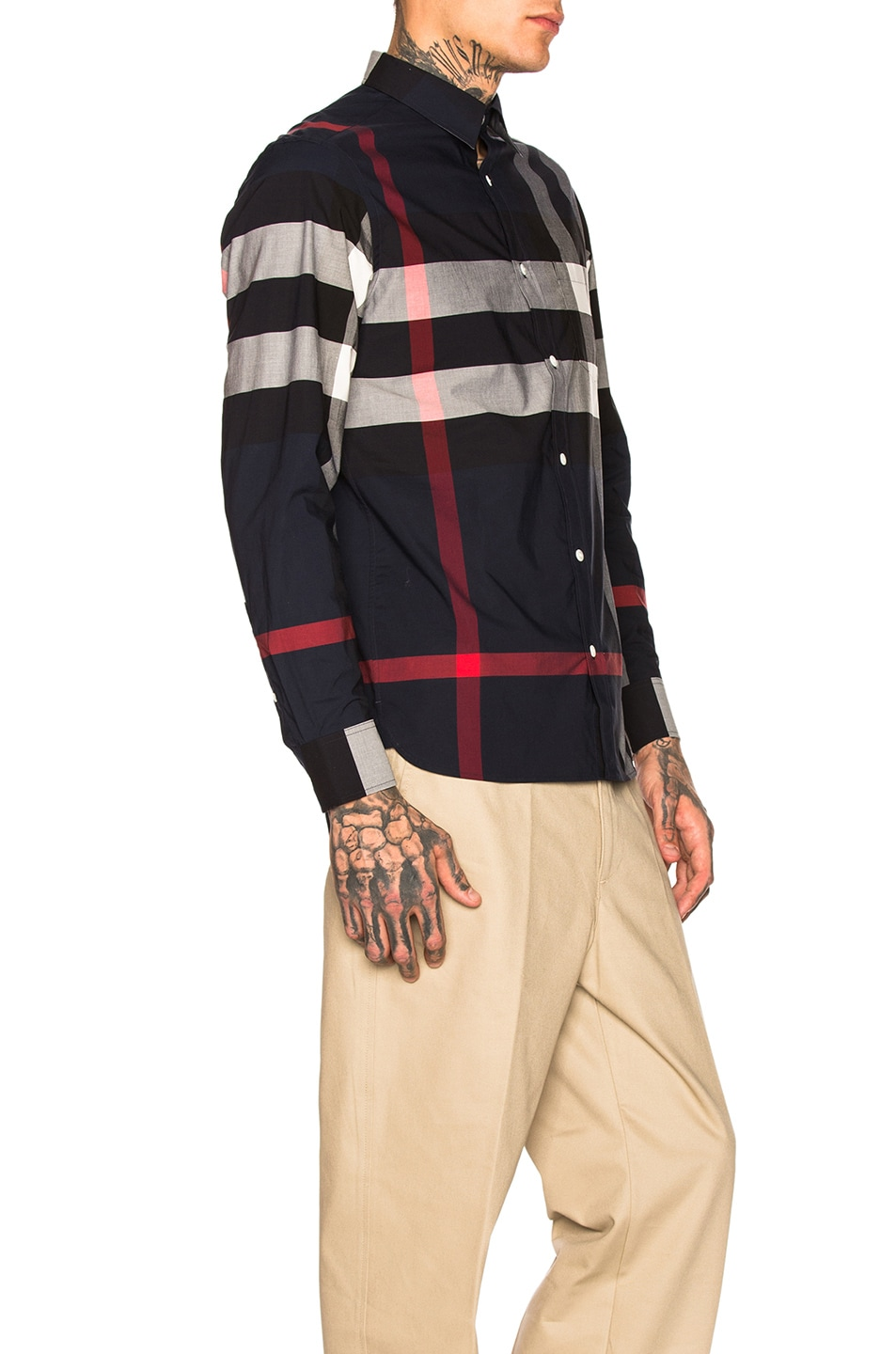 Image 2 of Burberry Giant Exploded Stretch Shirt in Navy Check