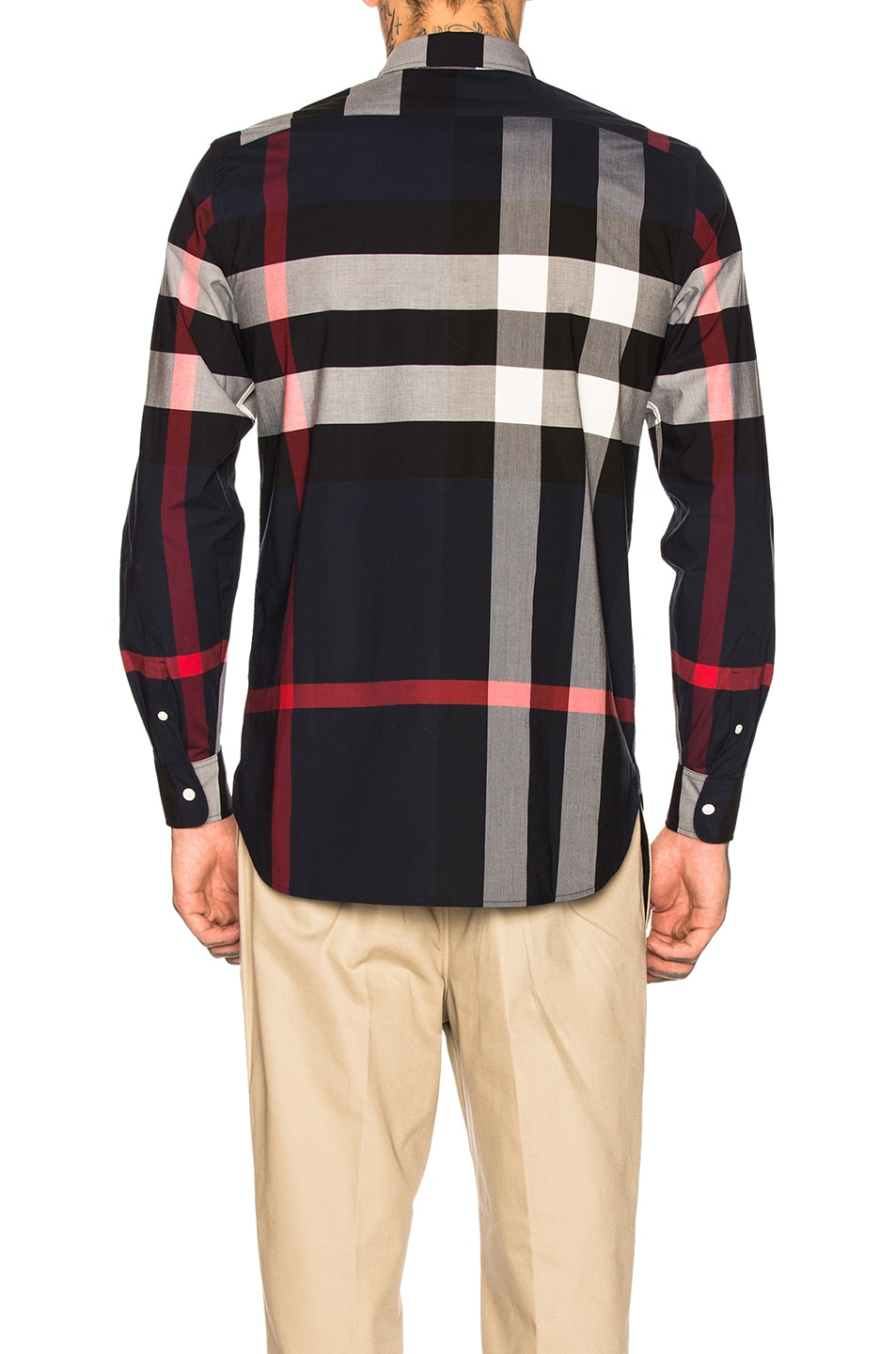 Image 3 of Burberry Giant Exploded Stretch Shirt in Navy Check