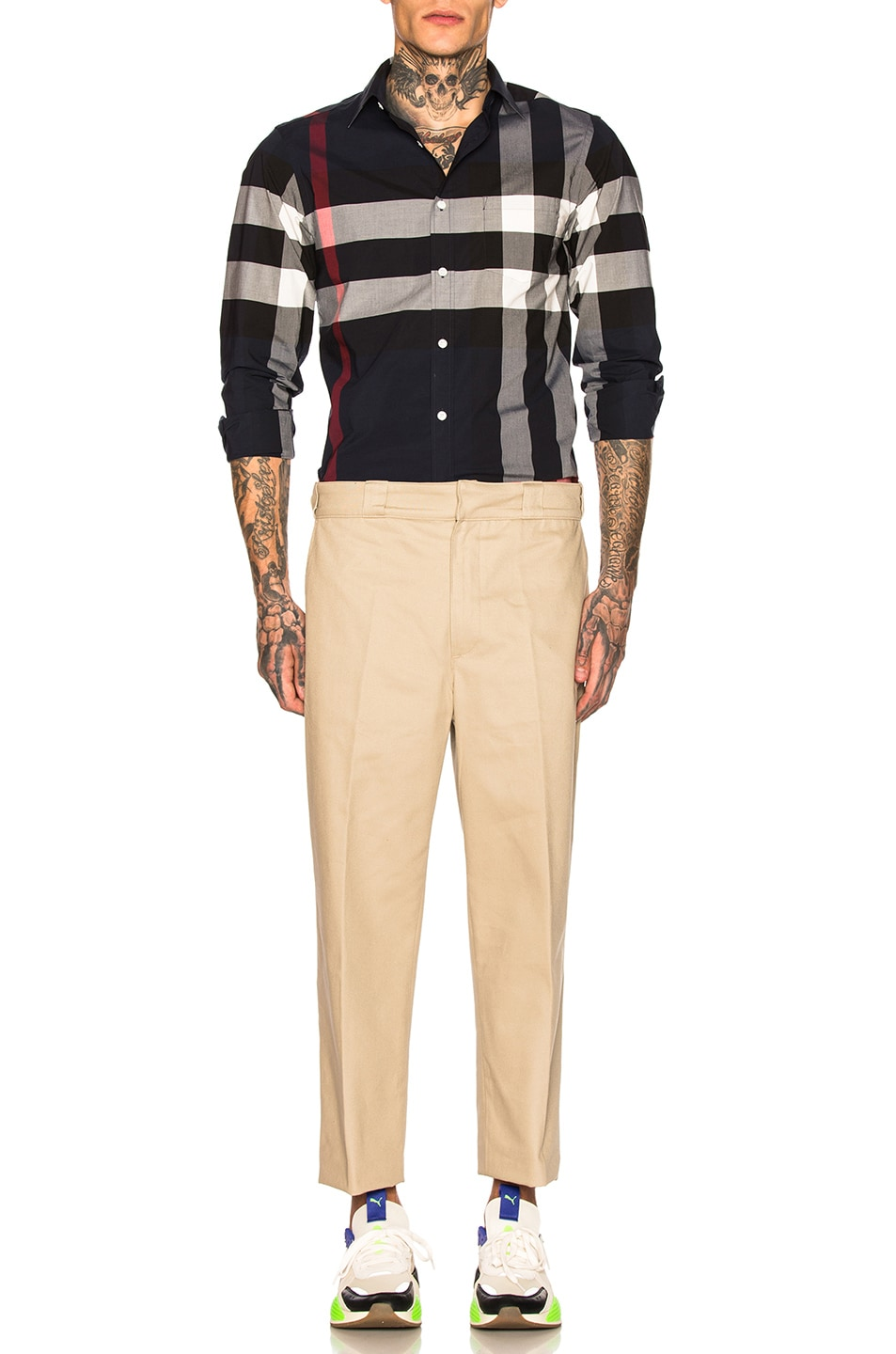 Image 4 of Burberry Giant Exploded Stretch Shirt in Navy Check