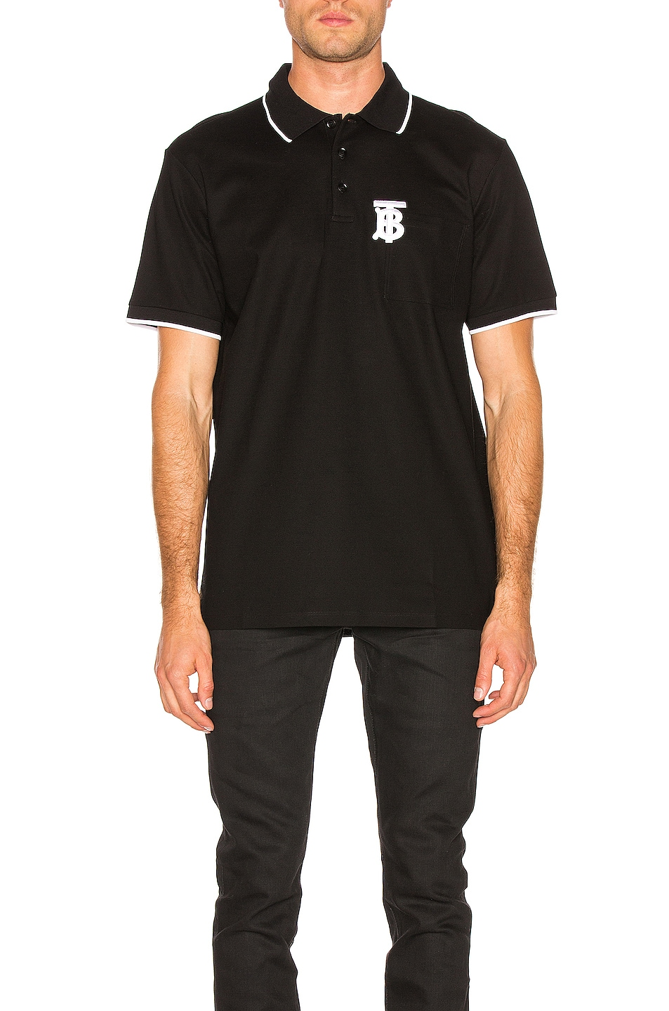 Image 1 of Burberry Pocket Polo in Black