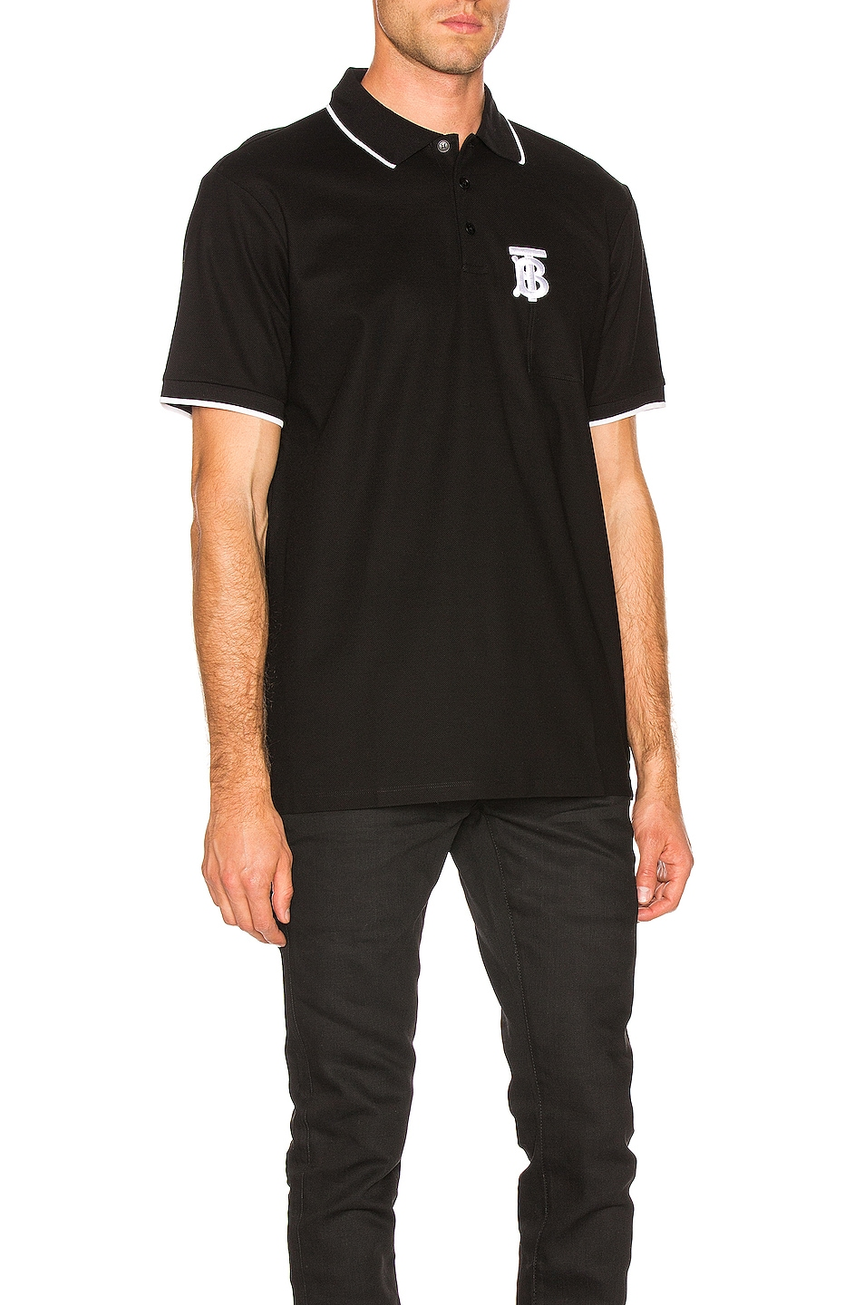 Image 2 of Burberry Pocket Polo in Black