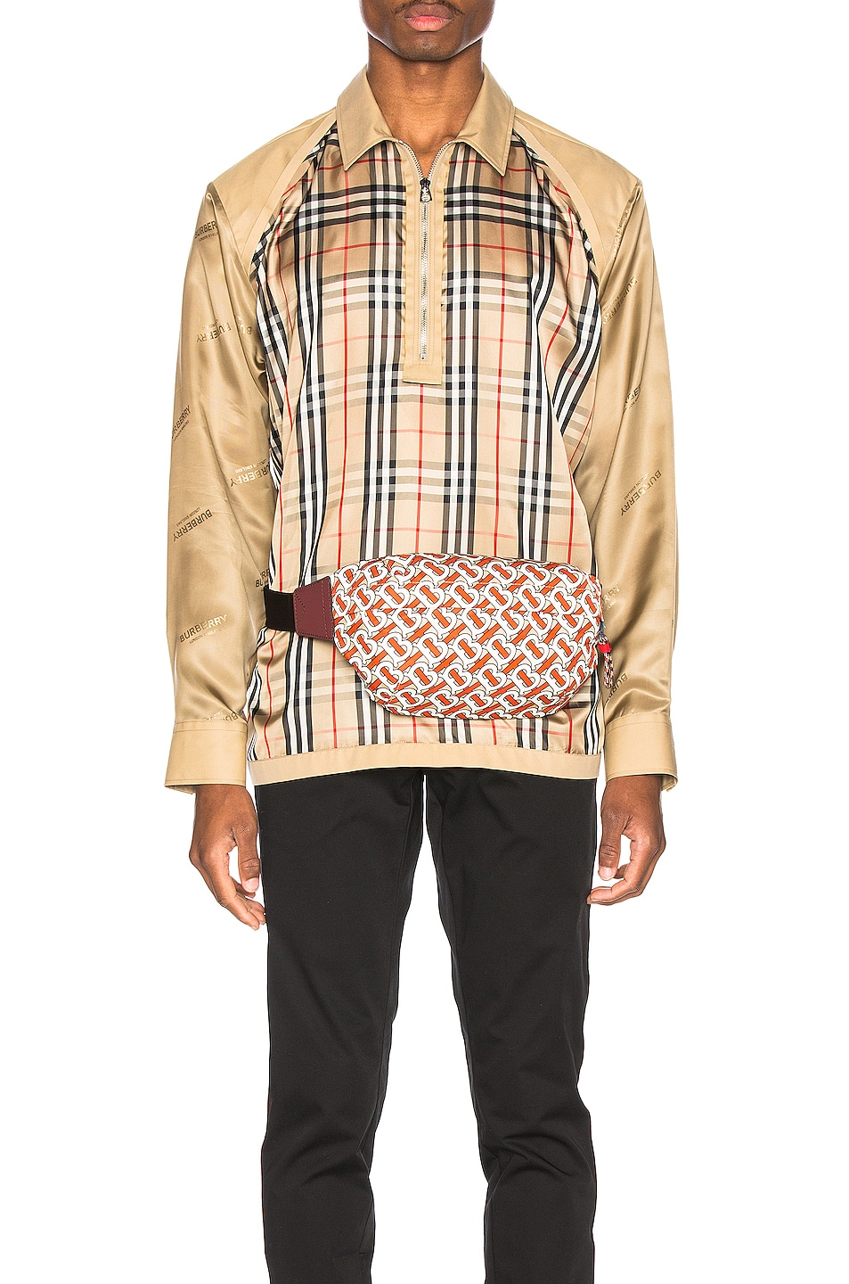 Image 1 of Burberry Runway Check Raglan Shirt in Archive Beige Check