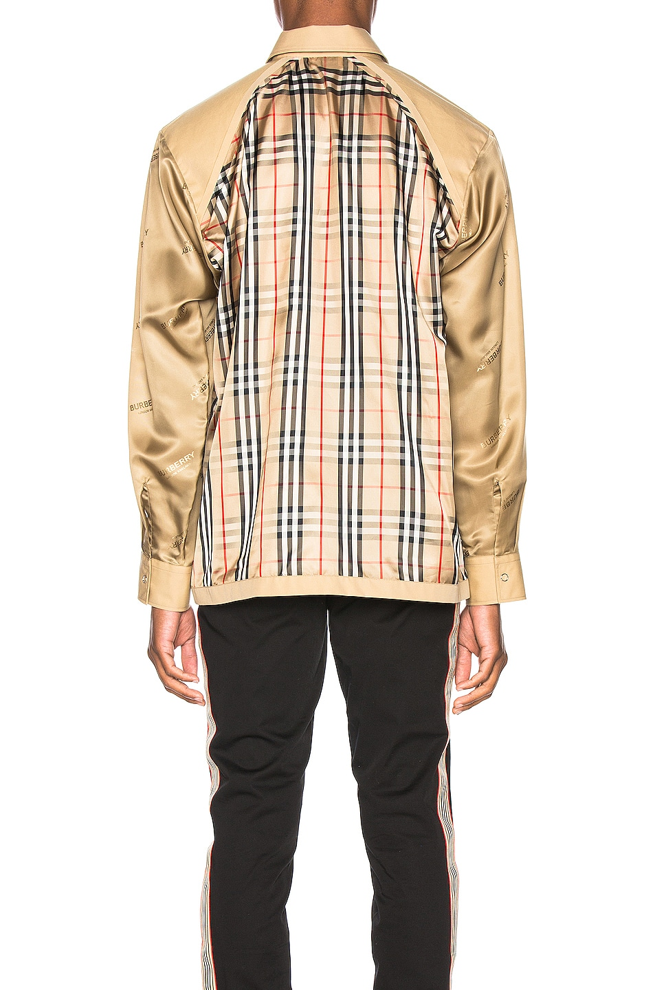 Image 4 of Burberry Runway Check Raglan Shirt in Archive Beige Check