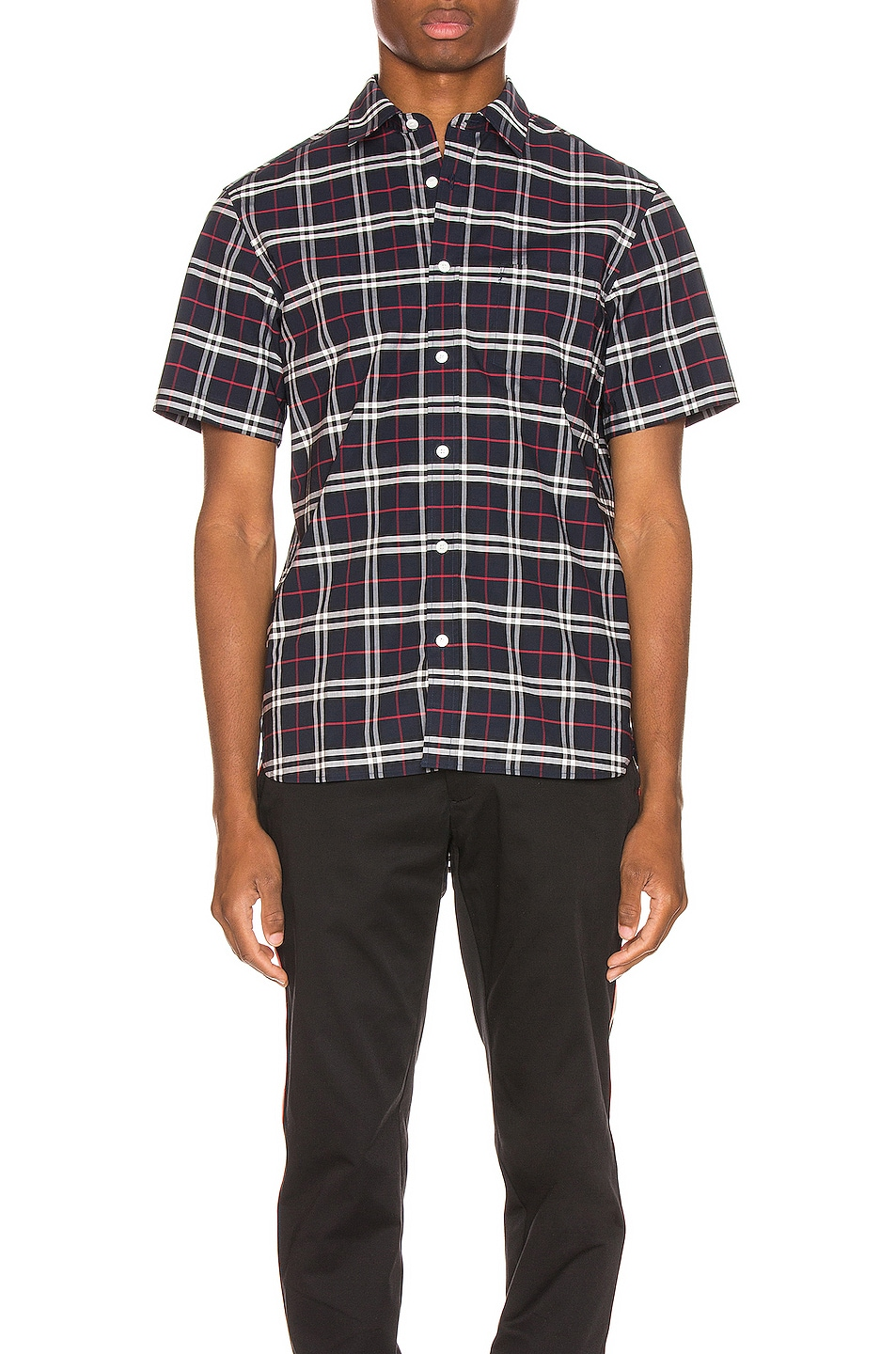Image 1 of Burberry George Small Stretch Check Shirt in Navy