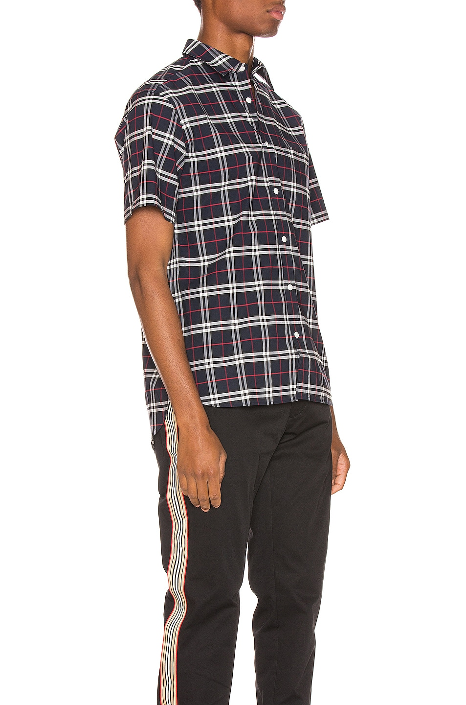 Image 2 of Burberry George Small Stretch Check Shirt in Navy