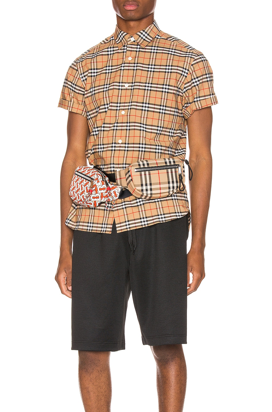 Image 1 of Burberry George Small Stretch Check Shirt in Camel
