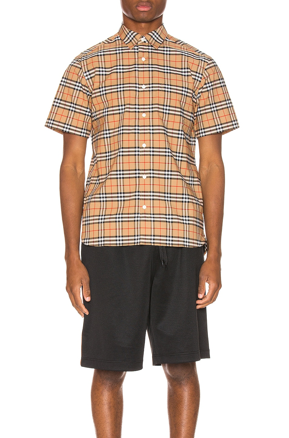 Image 2 of Burberry George Small Stretch Check Shirt in Camel