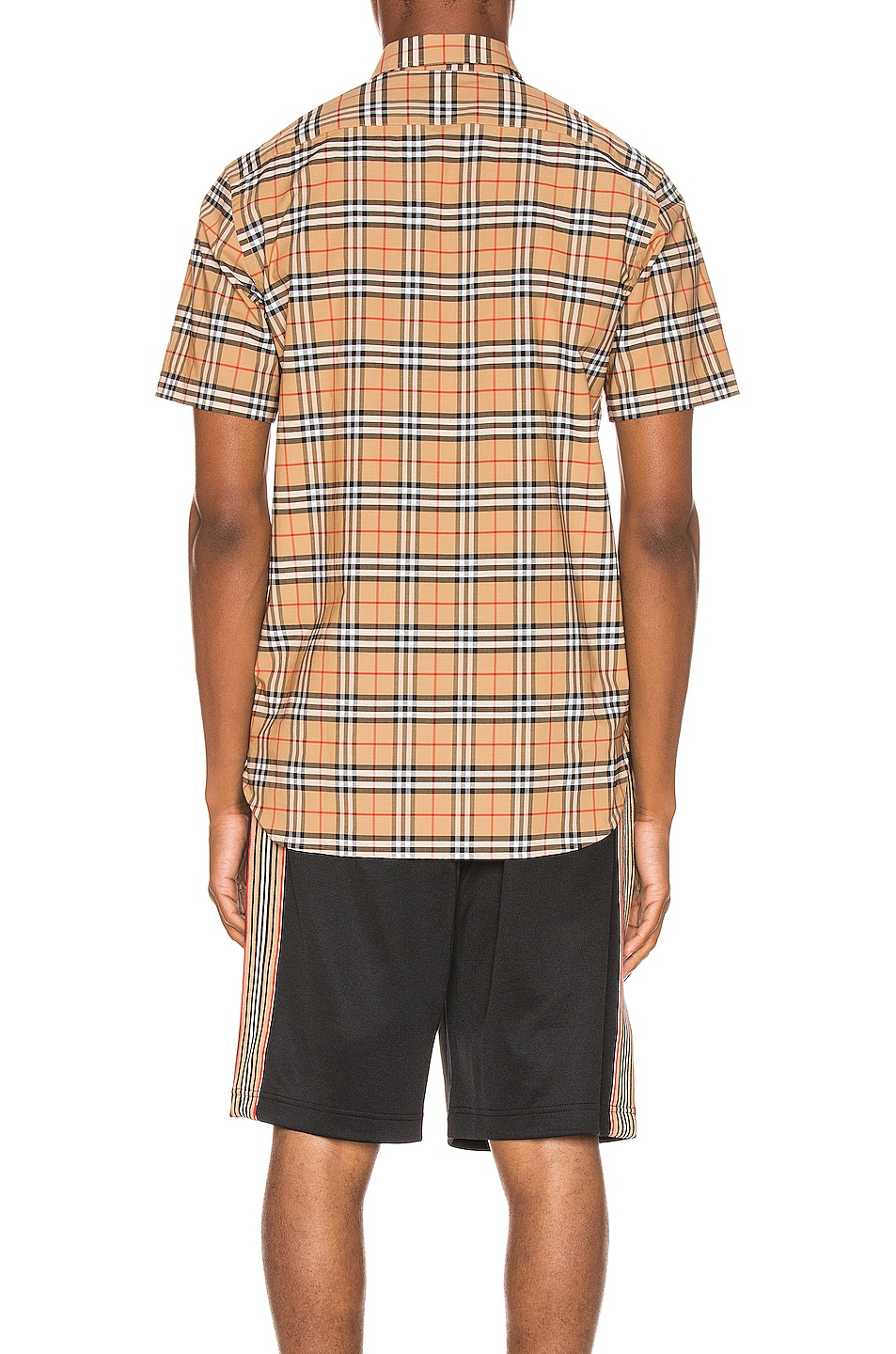 Image 4 of Burberry George Small Stretch Check Shirt in Camel