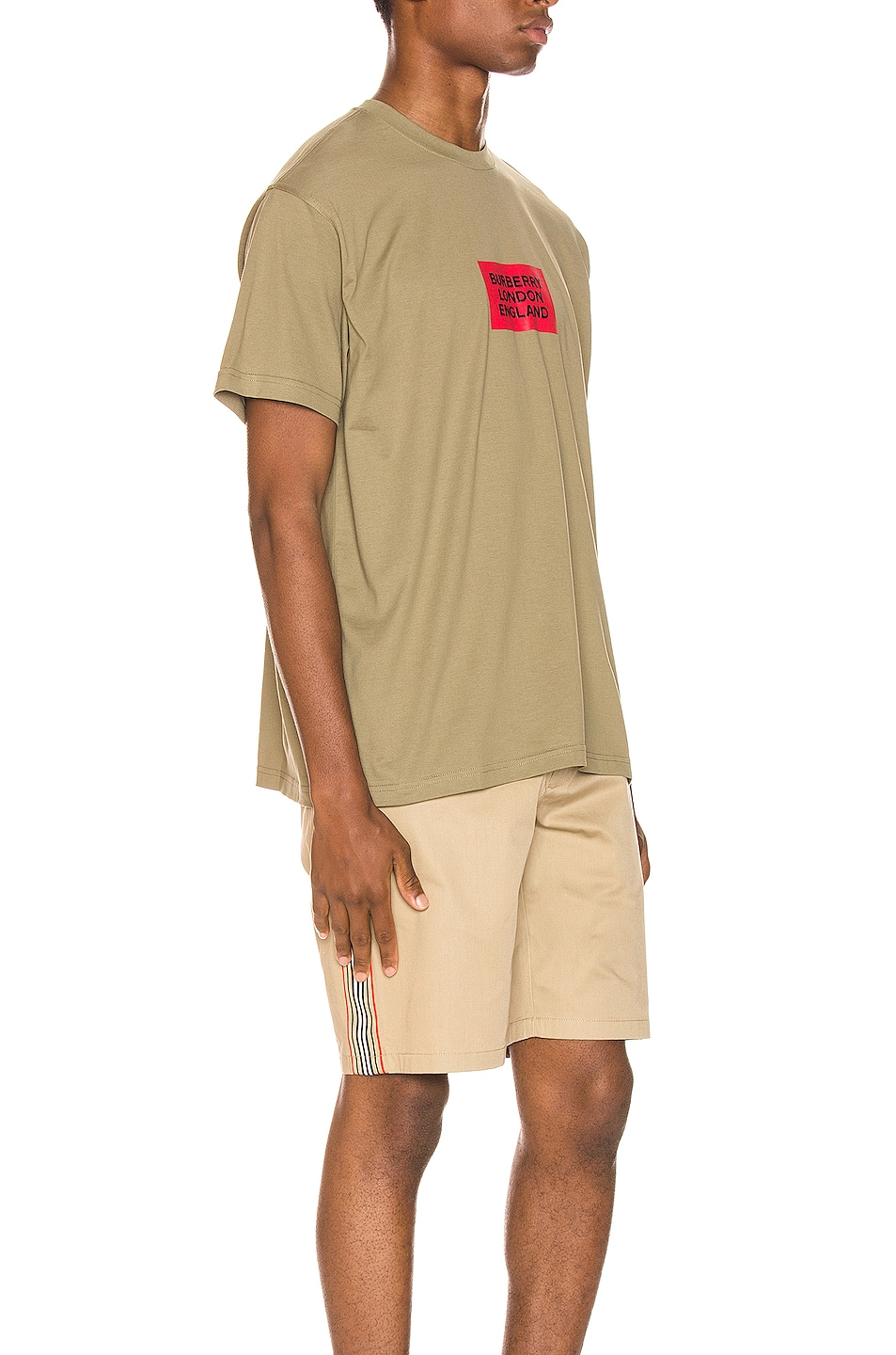 Image 2 of Burberry Fenson Logo Tee in Dark Moss