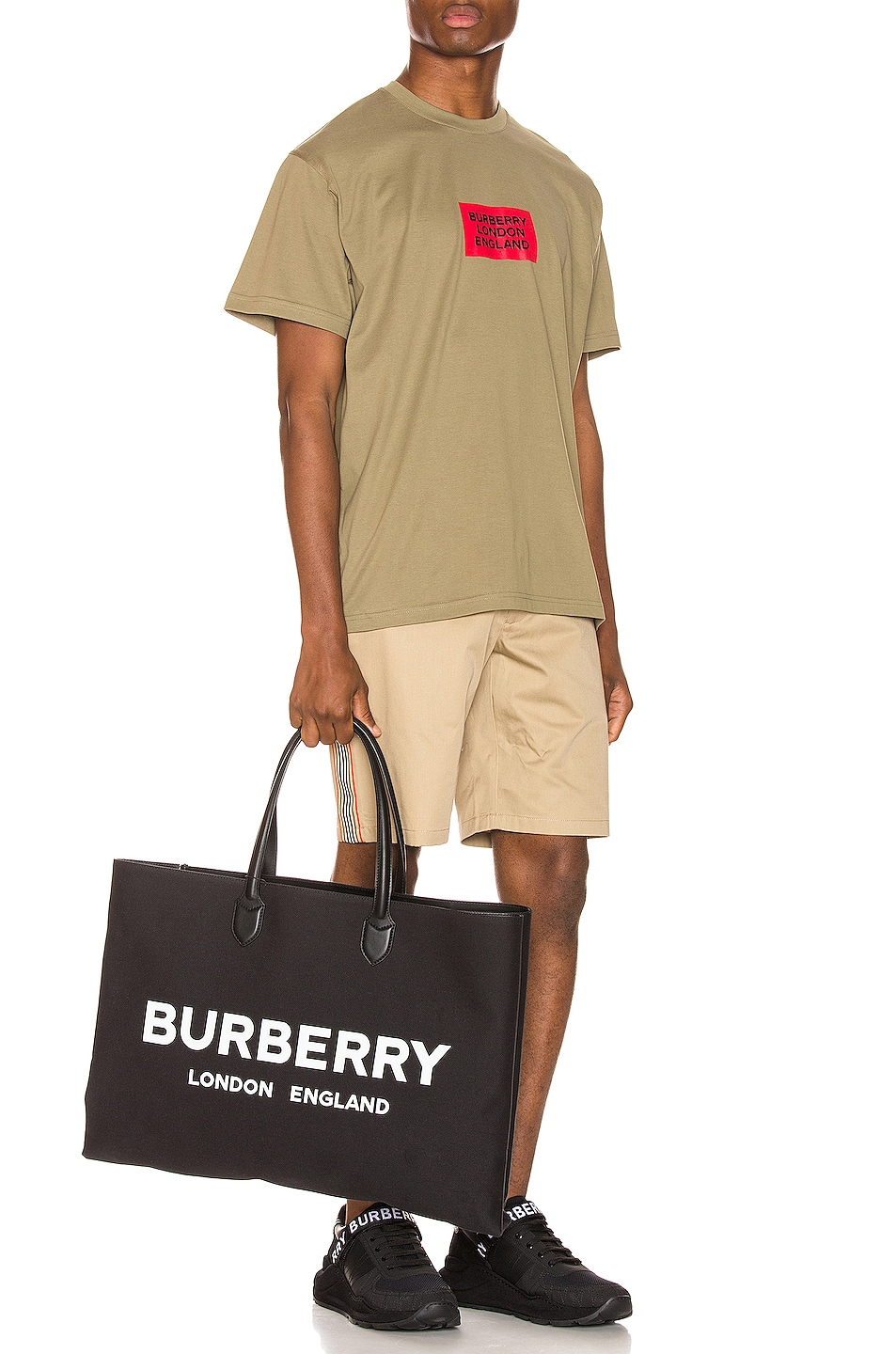 Image 4 of Burberry Fenson Logo Tee in Dark Moss