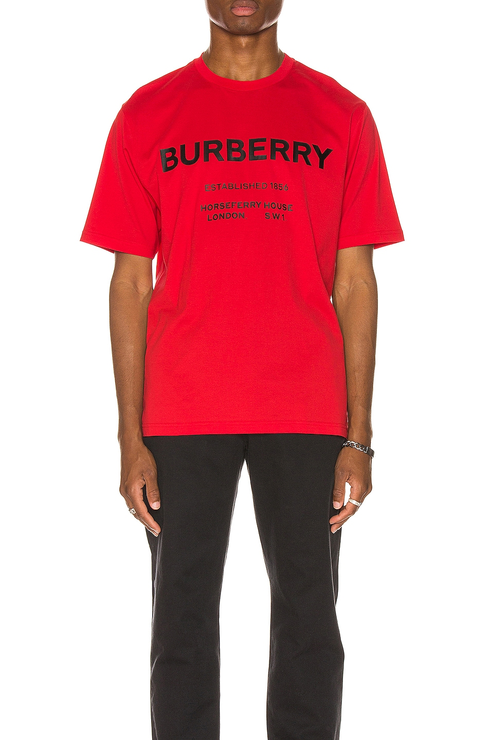 Image 1 of Burberry Established Addressed Logo Tee in Bright Red