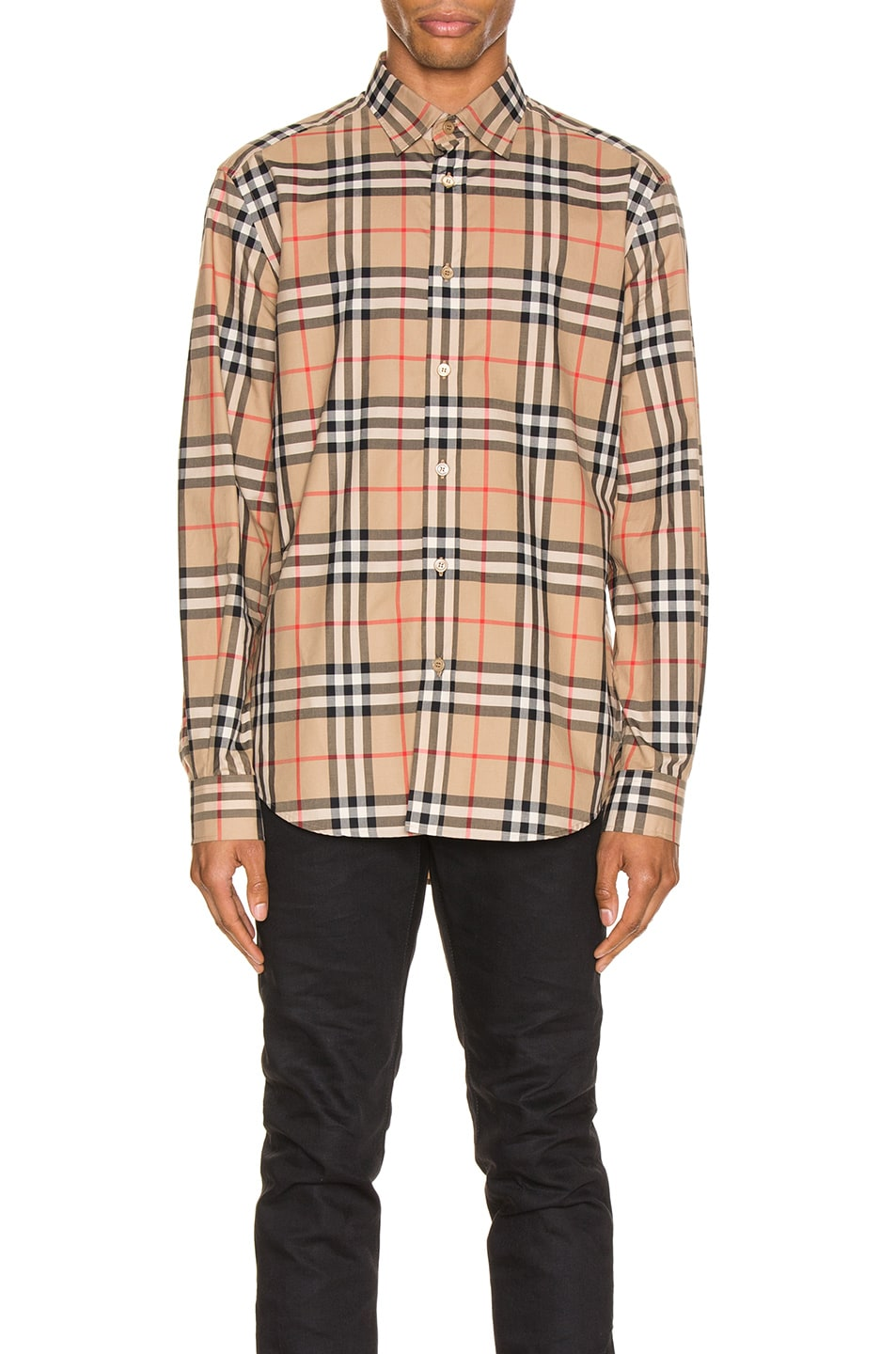 Image 1 of Burberry Long Sleeve Shirt in Archive Beige Check