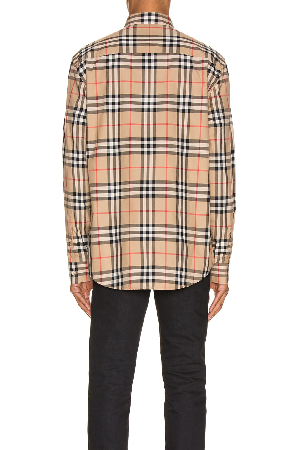 Image 3 of Burberry Long Sleeve Shirt in Archive Beige Check