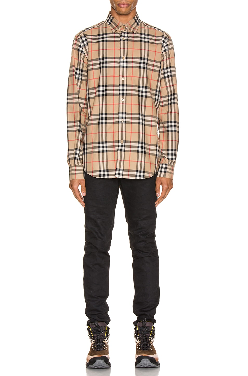 Image 4 of Burberry Long Sleeve Shirt in Archive Beige Check