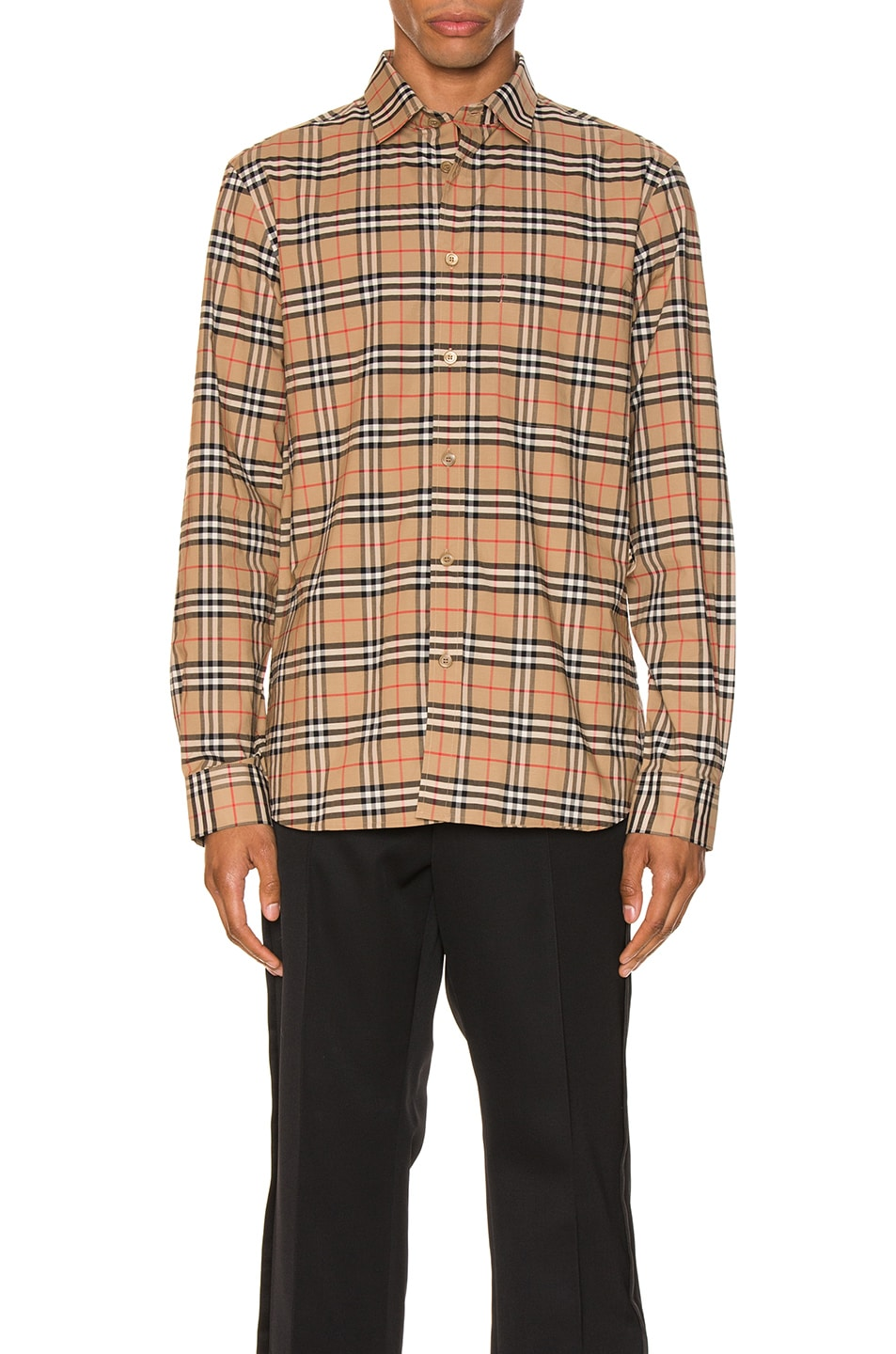 Image 1 of Burberry Small Scale Stretch Check Shirt in Camel Check