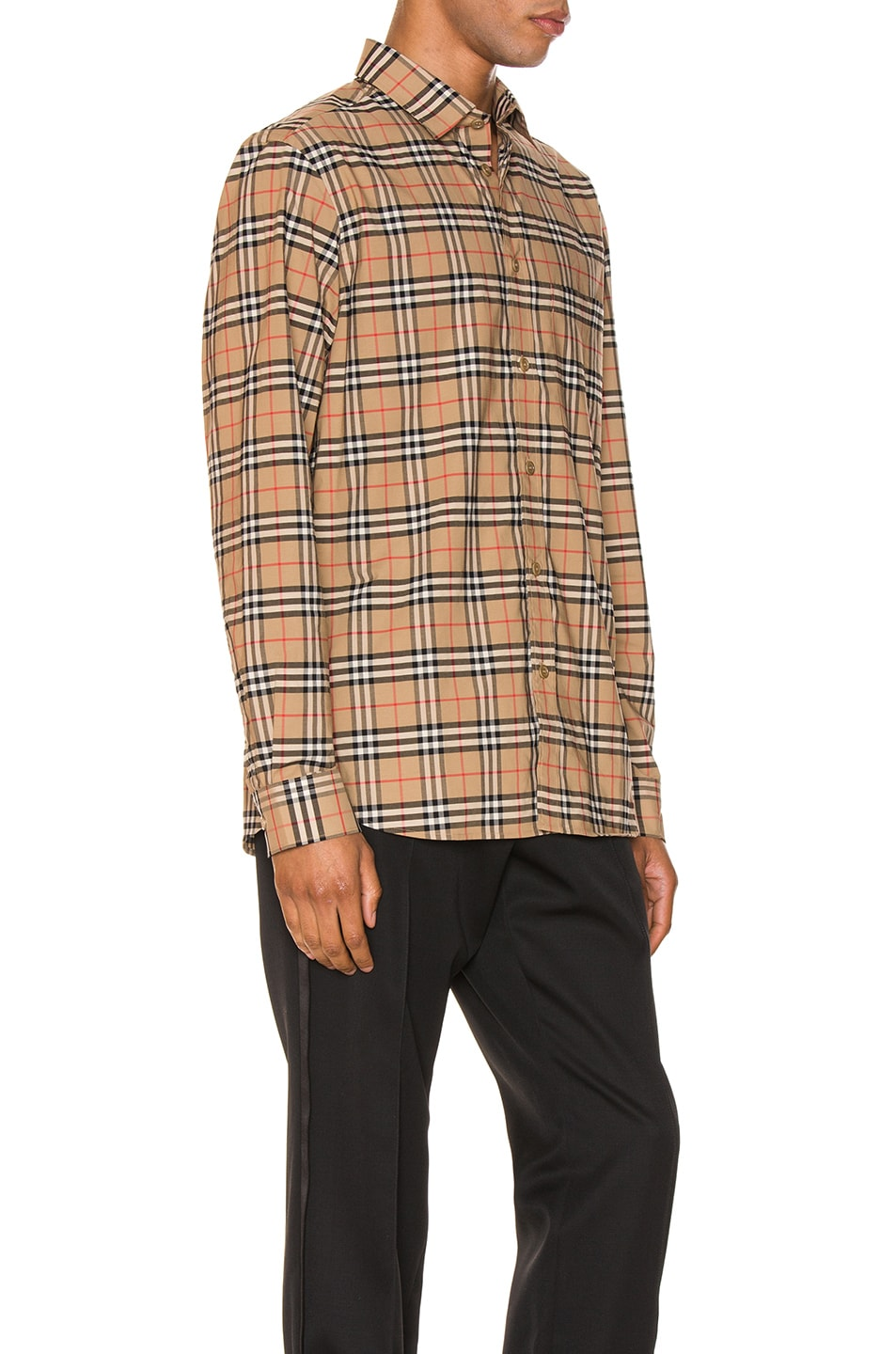 Image 2 of Burberry Small Scale Stretch Check Shirt in Camel Check