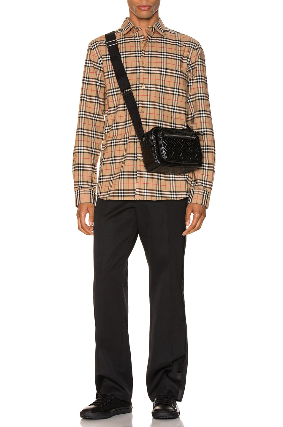 Image 4 of Burberry Small Scale Stretch Check Shirt in Camel Check