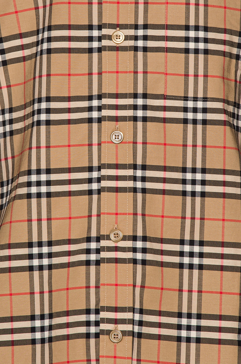 Image 5 of Burberry Small Scale Stretch Check Shirt in Camel Check