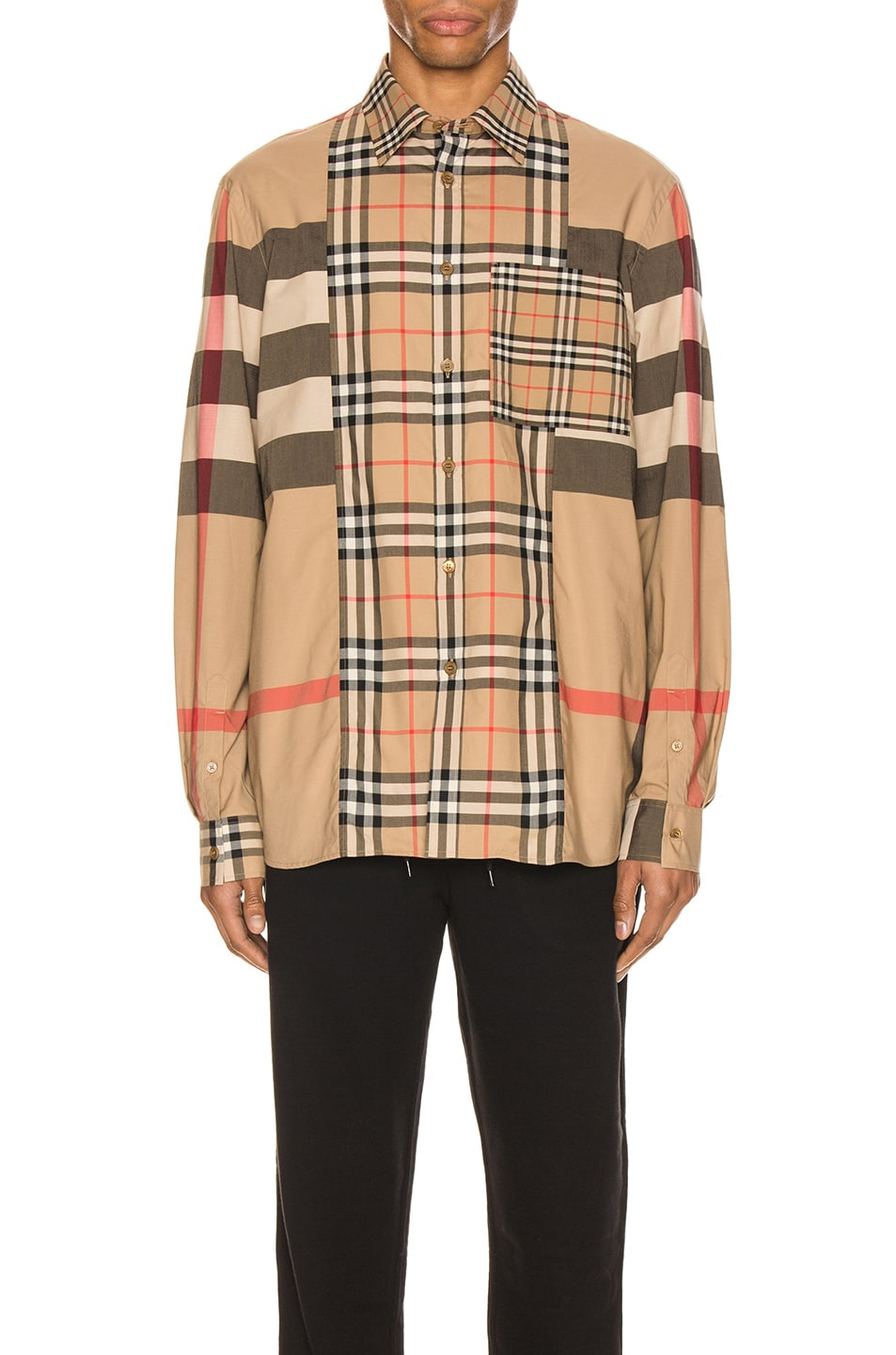 Image 1 of Burberry Tisdale Long Sleeve Shirt in Archive Beige IP Check